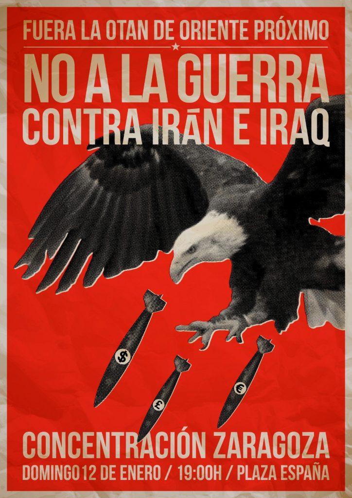 Comité Antiimperialista Aragón convoca a concentración por la paz en Irán.