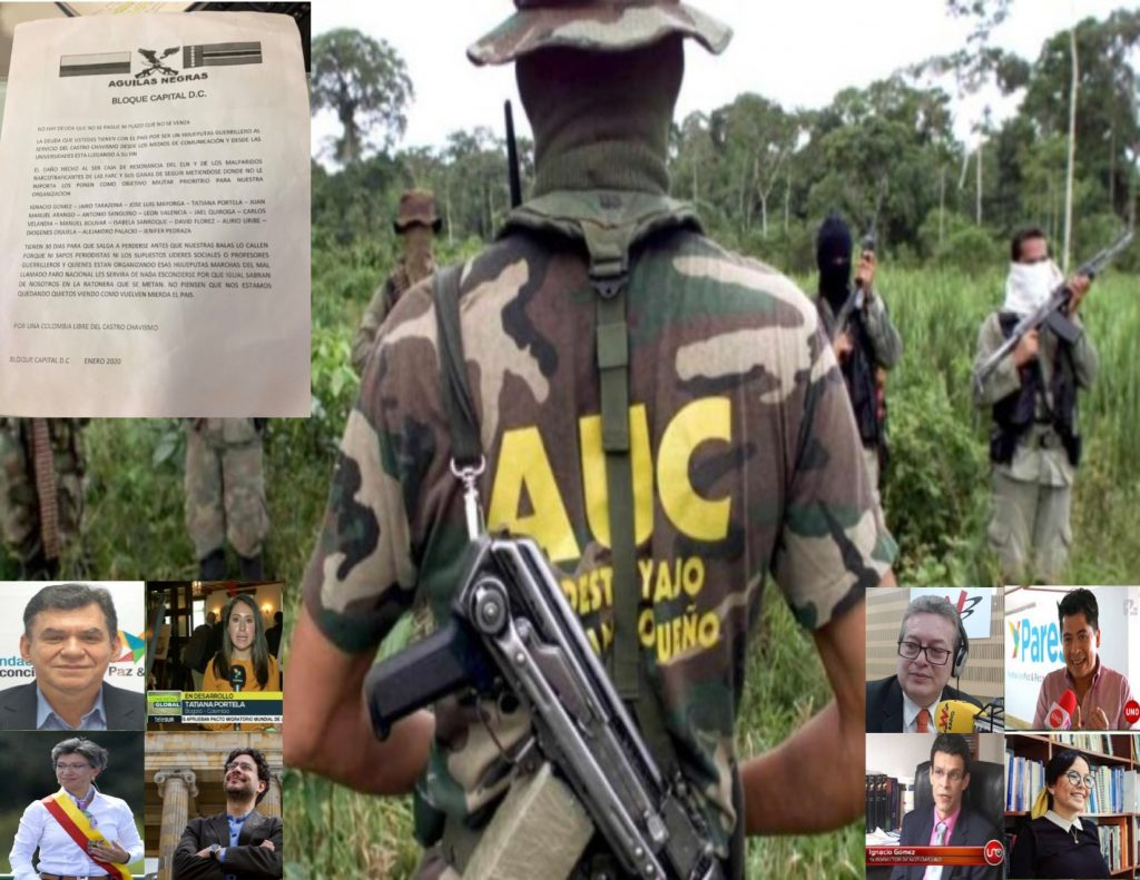 Águilas Negras- Bloque capital amenaza de muerte a políticos, lideres sociales y periodistas