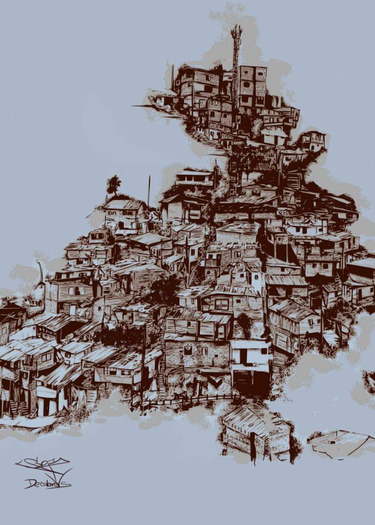 Barrio Altos de Virgen en la Comuna 13. Obra digital Sara de Colores