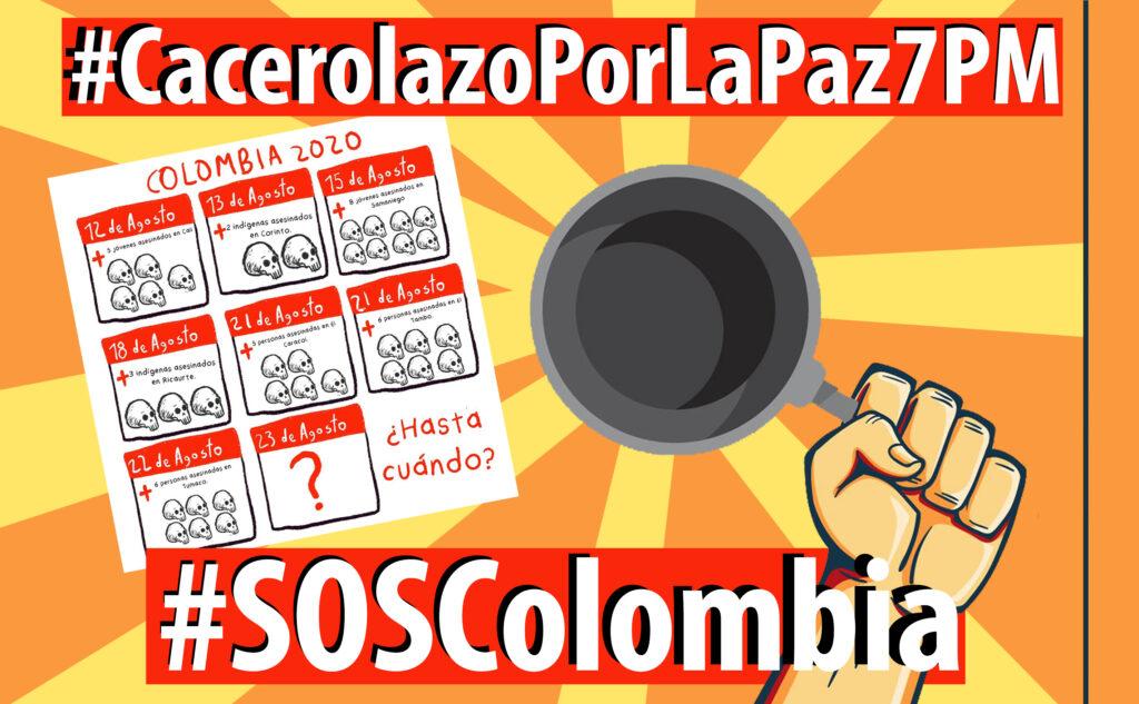 #SOSColombia: Cacerolazo por la paz, hoy 7:00 Pm
